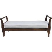 Early American Daybed or Bench with Trace of Old Red Paint