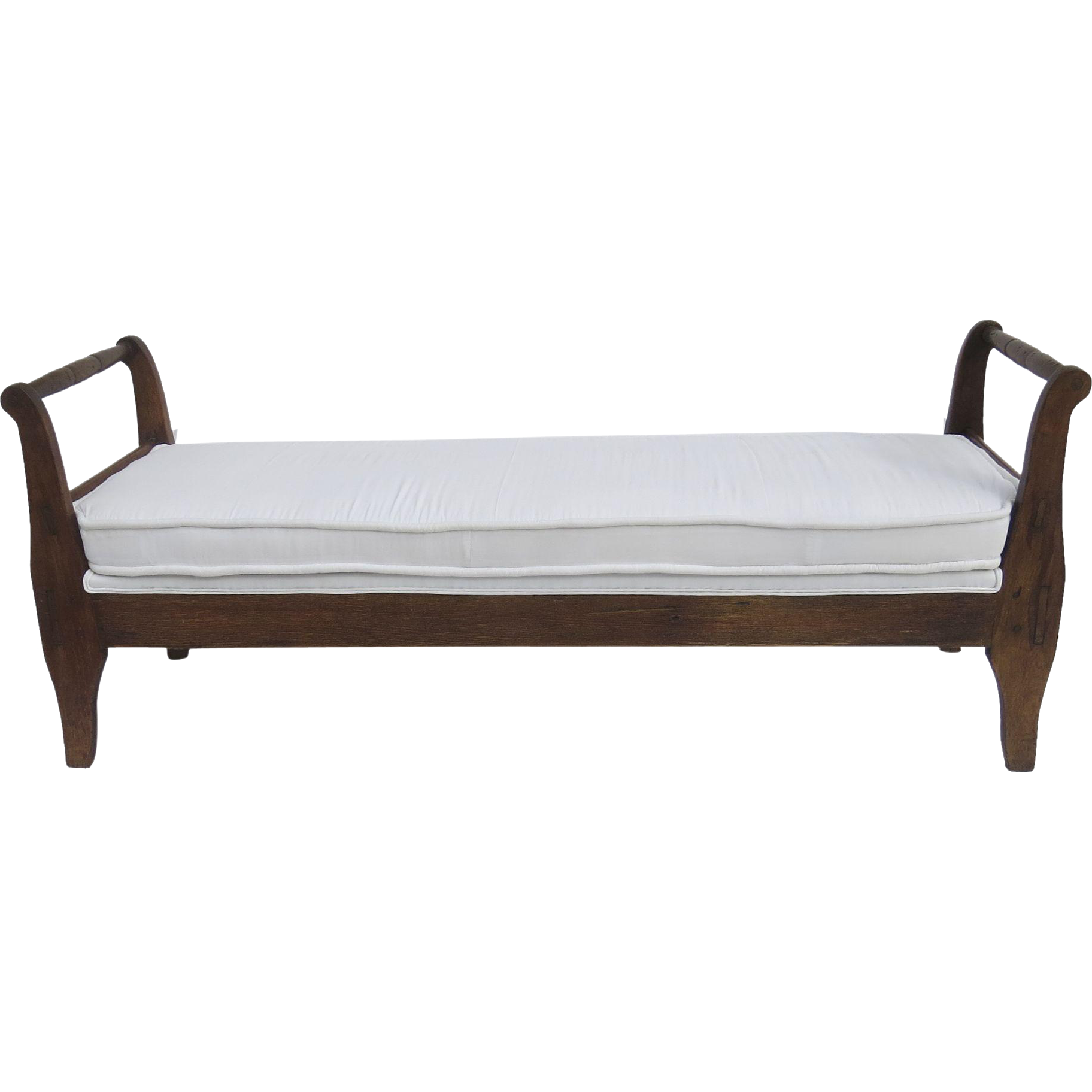 Early American Daybed or Bench with Trace of Old Red Paint from