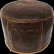 Vintage Tooled Round Ottoman Cowboy Bronco Horse Brand Design