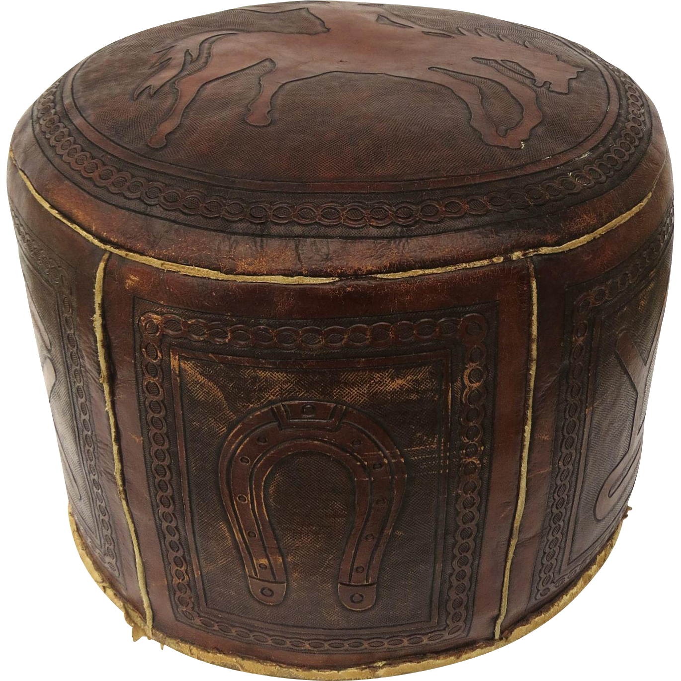 Round Leather Ottoman Design : Vintage Tooled Round Ottoman Cowboy Bronco Horse Brand Design from ...
