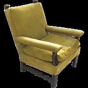 Vintage Spanish Italian Chip Carved Walnut Arm Chair