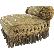 Antique Upholstered Bench/Stool with One Small Tufted and Rolled Arm and Tassel Shag Trim