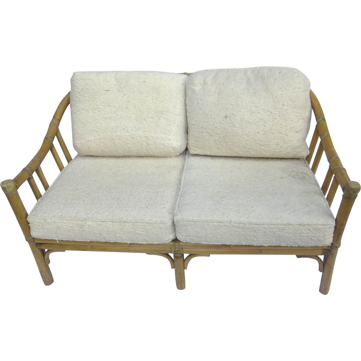 vintage mcguire 70 39 s rattan love seat settee sofa sold on ruby lane. Black Bedroom Furniture Sets. Home Design Ideas