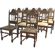 Set of 10 Vintage Walnut Chairs 1920 Spanish revival by  Kensington MFG. Company Furniture.