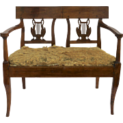19th Century French Small Fruitwood Window Seat Bench with Drop in Seat Swan Liar Back Splat