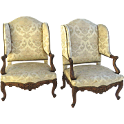 19th Century Pair of Walnut French Louis XV Style Wingback Chairs