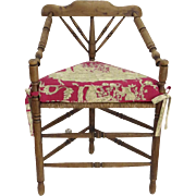 19th Century English Turned Wood & Triangular Rush Seat Chair Custom Cushion Seat Country