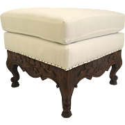 Vintage French Provencial Country Carved Cabriole Leg Ottoman Square