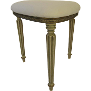 Vintage Uphostered Triangular French Painted Fluted Leg Stool