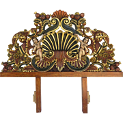 Vintage Hand-Carved Pine Headboard Mexico Conch Design Polychrome & Gilt