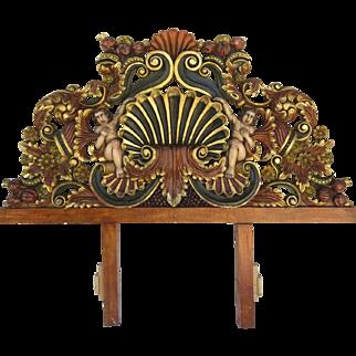 Vintage Hand-Carved Pine Headboard Mexico Conch Design Polychrome & Gilt