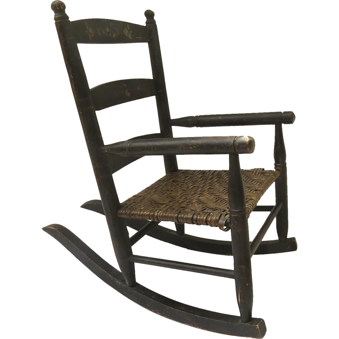 19th Century Painted Stenciled Child's Rocking Chair
