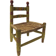 Vintage Folk Art Painted Child's Chair Made in Mexico Mexican