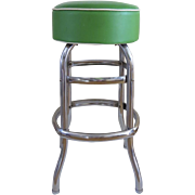 Vintage Mid Century Swivel Bar Stool Apple Green Vinyl Deep Upholstered Seat