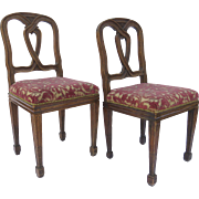 Pair of Italian Walnut Side Chairs with Twisted Pattern Back Splat