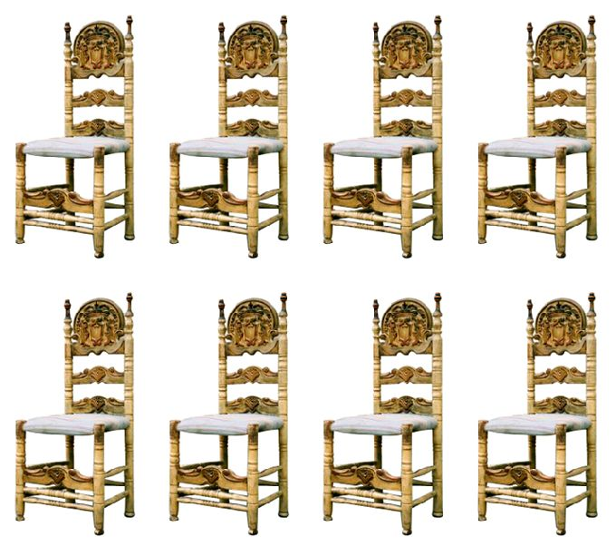 Set of 8 Catalan Variety Spanish Late Baroque Painted and Gilt Side Chairs
