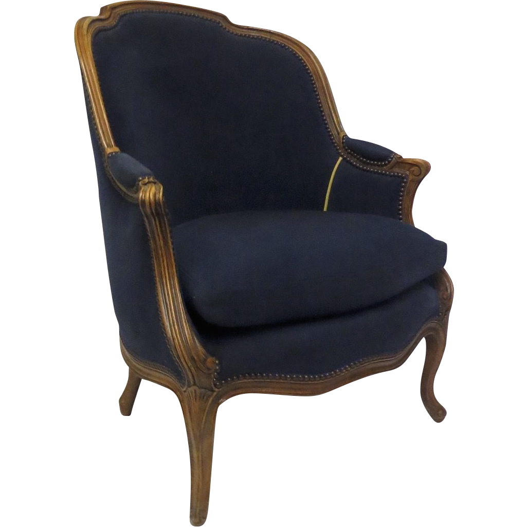 "French Louis XV Style ""Gondola"" Shaped Tub Bergere Chair"