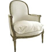 Louis XVI Style Arm Chair Upholstered Loose Down Cushion Original Painted Finish