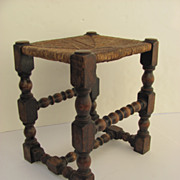 Turned Joint Stool with Rush Seat