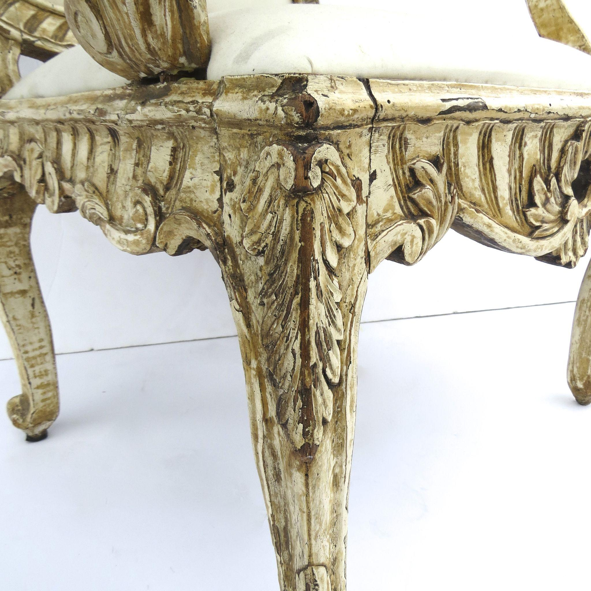 Mid 18th Century Italian Palazzo Rococo carved armchair from