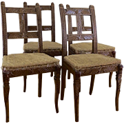 Set of Four (4) Tyrolean Walnut Carved Country Chairs Lodge Cabin Mountain Home Lion Heads