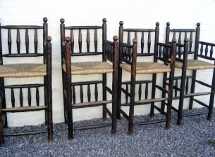 Set Of 4 Four Rustic Turned Bar Stools Rustic Log House