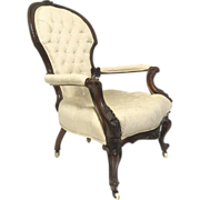 French Walnut Open and Carved Armchair