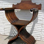 Walnut Savonarola X Frame Curule Folding Chair with Inlaid Back