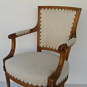 French Carved Directoire Style Arm Chair