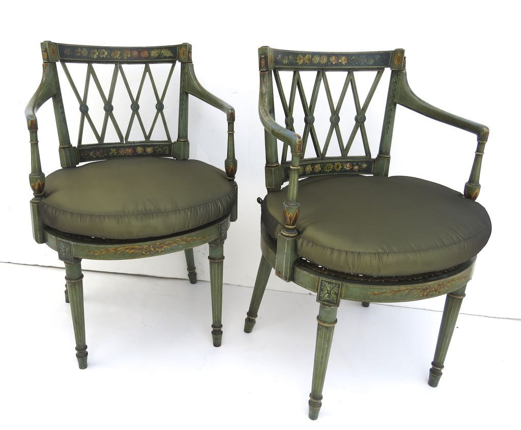 Pair Of Hepplewhite Style Painted Chairs From Blacktulip On Ruby Lane
