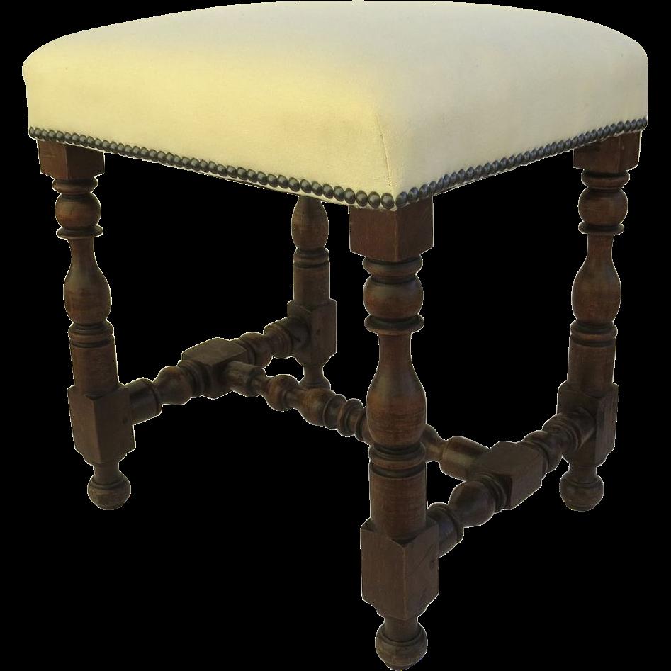 Italian Turned Leg Stool Antique Linen Upholstry Black