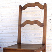 French Fruitwood Wavy Ladderback Chair