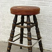Vintage 1950's Bar Stool Leather Seat