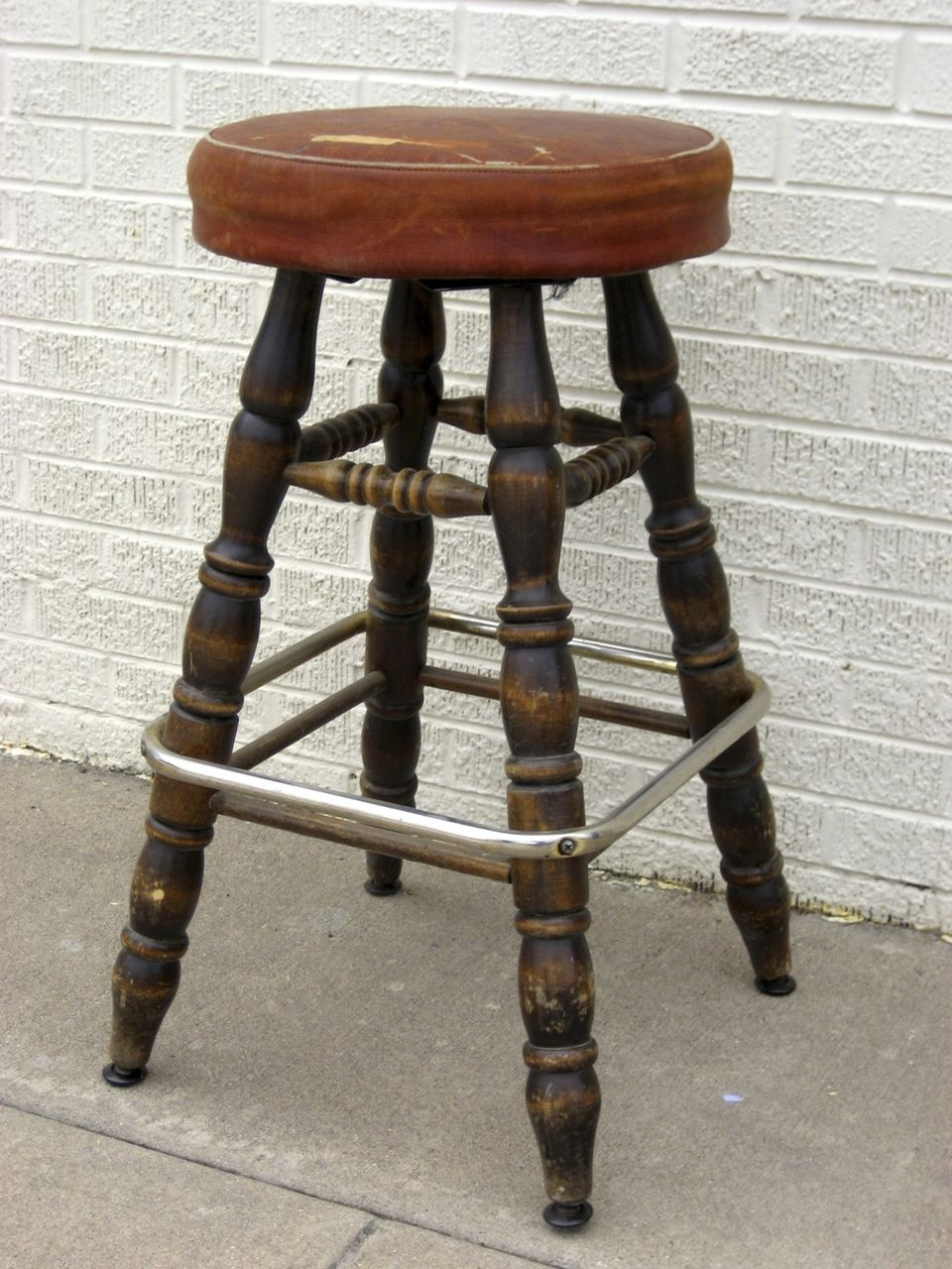 Vintage 1950 S Bar Stool Leather Seat From Blacktulip On