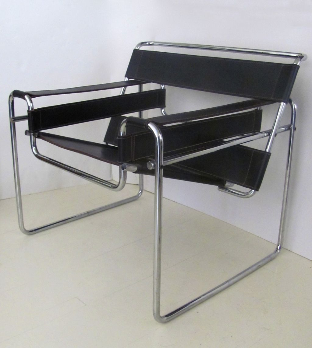 Pair of Mid Century Wassily Chrome Leather Chairs from blacktulip