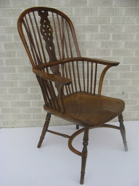 English Yew Wood Windsor Chair Pierced Crinoline Stretcher