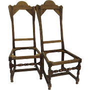 Pair of English Turned Stretchers Leg William and Mary Style Chairs Tall Backs