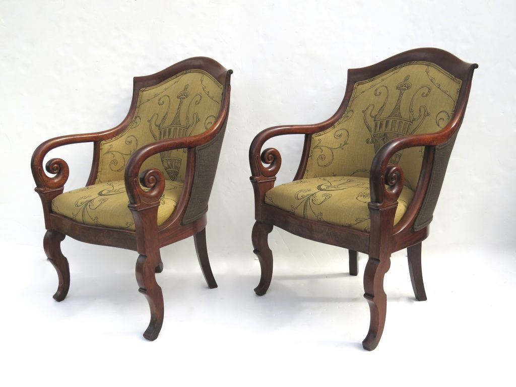 Pair Of French Empire Mahogany Arm Chairs : Black Tulip Antiques, Ltd. |  Ruby Lane