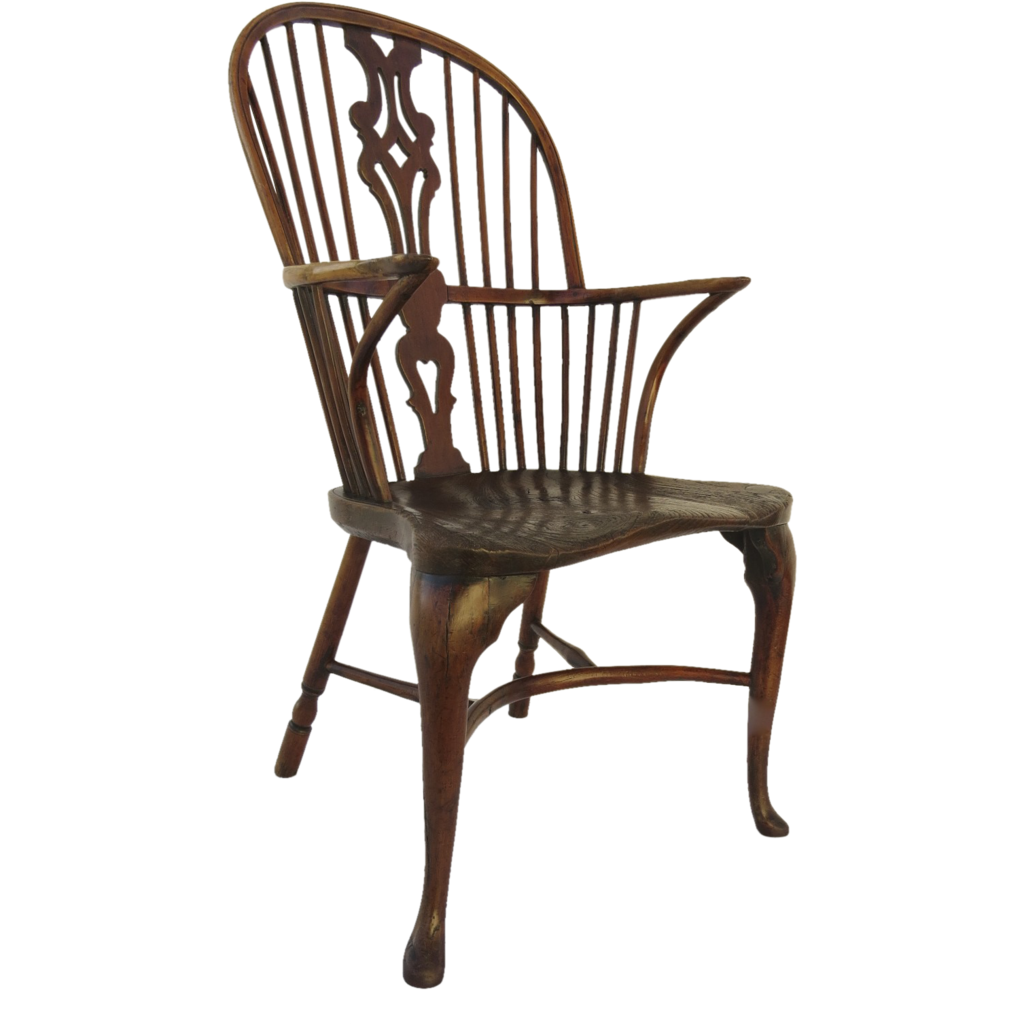Early 18th Century English Yew Wood and Elm Windsor Cabriole Leg chair :  Black Tulip Antiques, Ltd. | Ruby Lane - Early 18th Century English Yew Wood And Elm Windsor Cabriole Leg