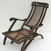 Indo-Portuguese Carved Folding Cane Chair