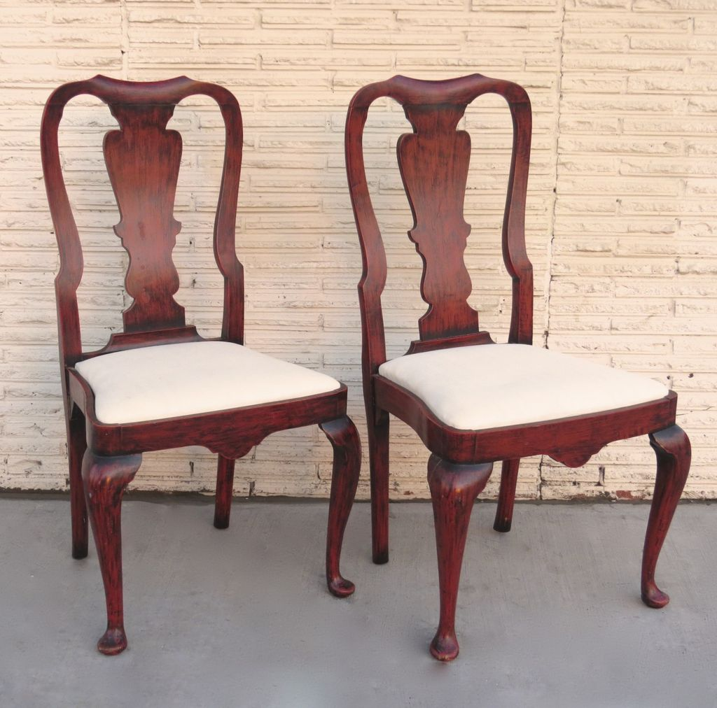 Superb Pair Of Queen Anne Style Chairs Red Paint