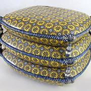 Vintage Majolica Glazed Ottoman Stool Cushions Tassels