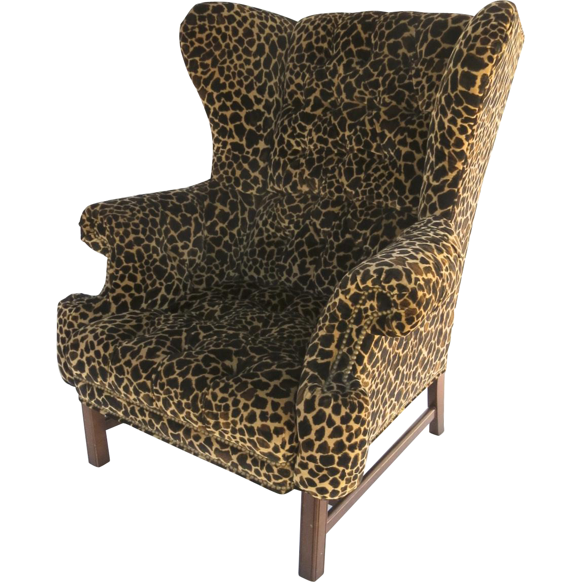 Large Scale Vintage Wing Chair With Straight Legs And Stretcher Velvet From Blacktulip On Ruby Lane