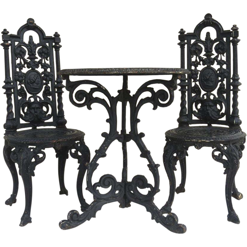 American Cast Iron Garden Table and Two Chairs  Black Tulip Antiques Ltd. | Ruby Lane  sc 1 st  Ruby Lane & American Cast Iron Garden Table and Two Chairs : Black Tulip ...