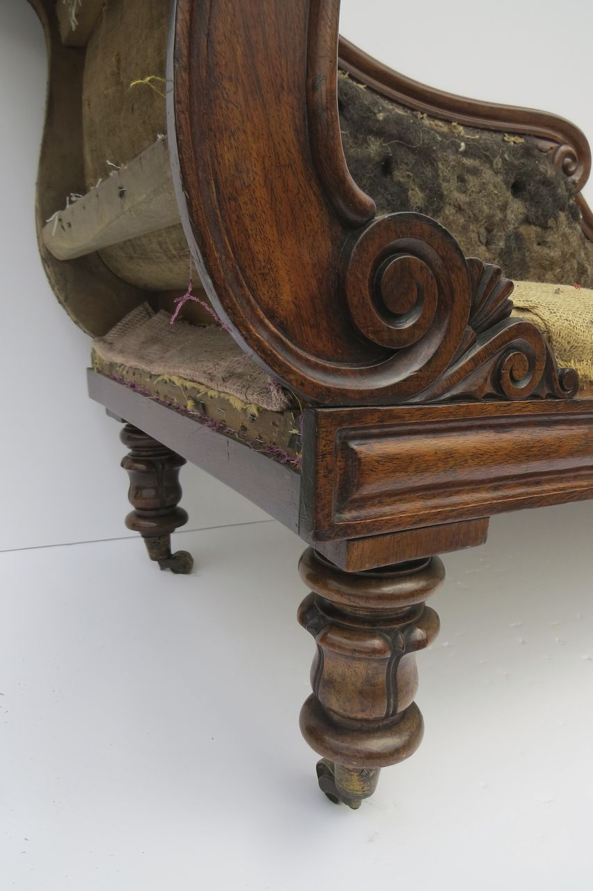 English rosewood chaise longue c 1840 from blacktulip on - Changer toile chaise longue ...