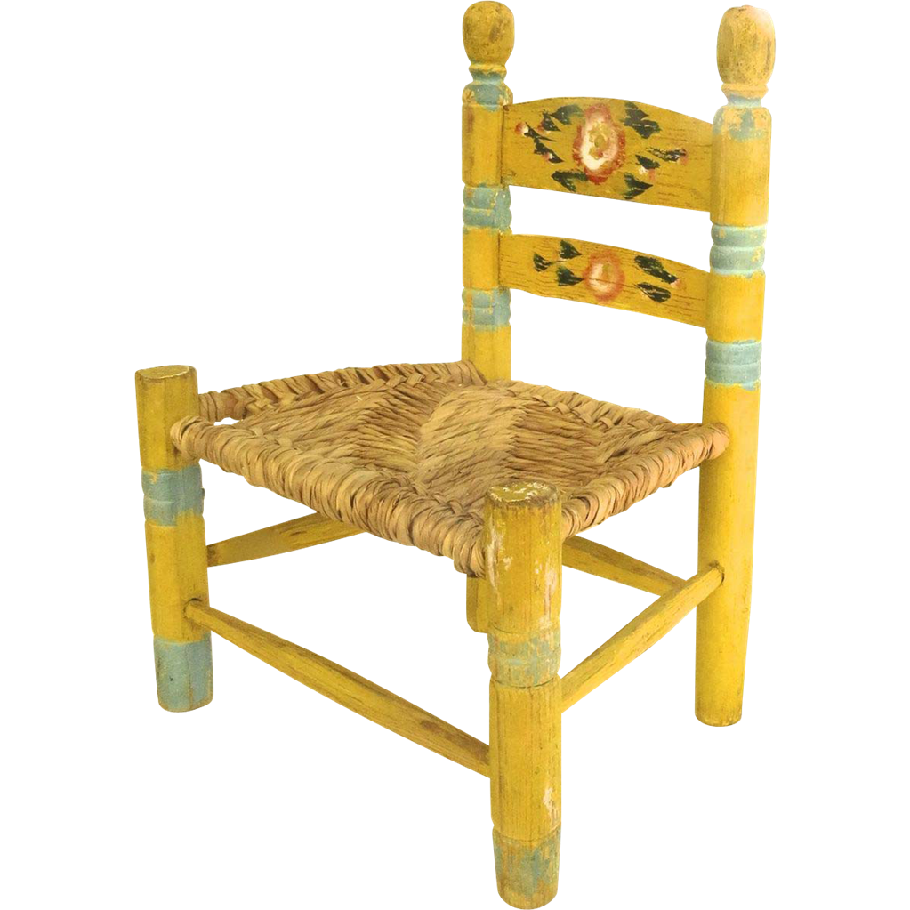 Vintage mexican painted child 39 s chair yellow floral from for Child on chair