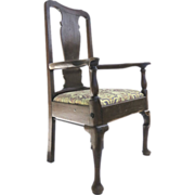 English Oak Provincial Queen Ann Armchair