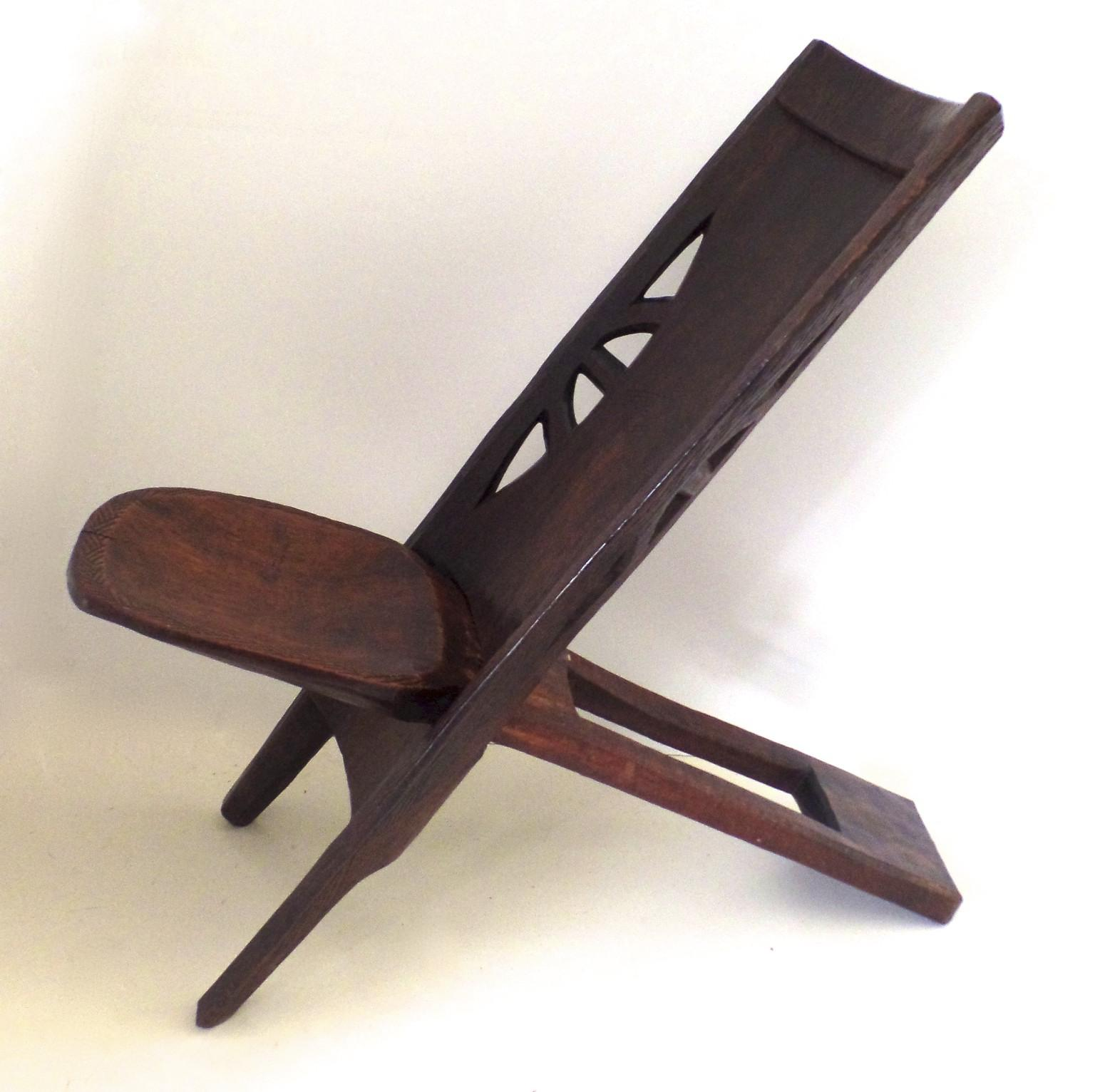 Vintage African Folding Portable Two Part Chair Stool from