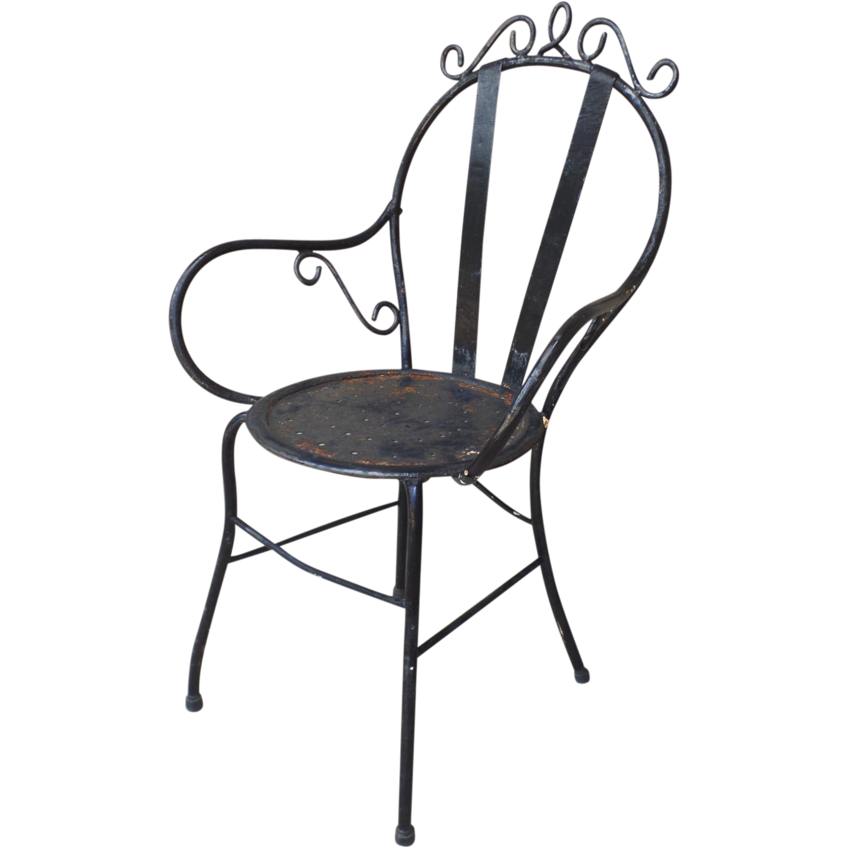 Vintage wrought iron garden bistro arm chair from for Wrought iron cafe chairs