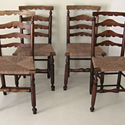 Set of 4 English Ladderback Country Chairs Rush Seat